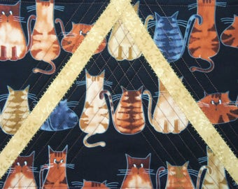 Quilted Mug Rug, Cat Quilted Mat, Cat Coaster, Quilted Place Mat, Quilted Snack Mat, Feline Place Mat, Cat Coffee Mat, Sewnsewsister