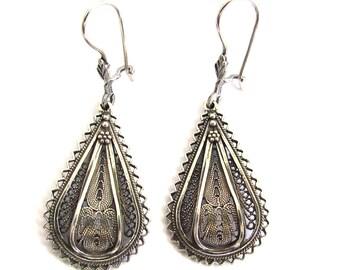 Ethnic Drop Earrings, 925 Sterling Silver, Artisan, Filigree - ID1021