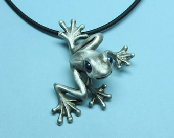 "Silver Frog Necklace With Pearl Eyes And Silicone Rubber Cord ""Froggz Only"" Collection - ""Silazz"""