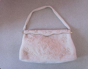 1950s White and Clear Glass Beaded Evening Bag