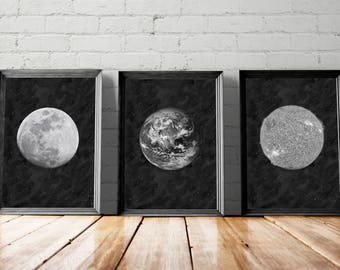Moon Print Gallery Wall, Space Print Set, Earth Printable, Sun Wall Art, La Lune