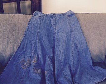 Retro Faded Glory Collectible Jean Skirt Mid-Calf