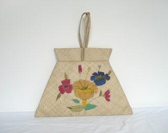 Vintage straw bag - hand embroidered raffia purse - mid century woven raffia handbag - vintage embroidered straw handbag