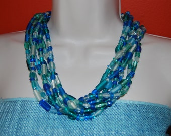 Statement Necklace Turquoise Blue and Light Green Glass Beaded Necklace Multi Strand Chunky Bold
