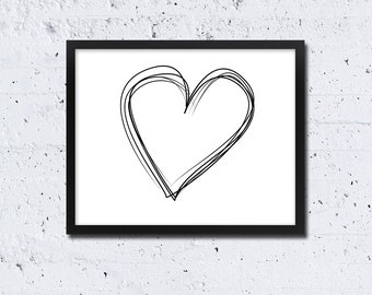 Minimalist Heart Scribble PRINTABLE INSTANT DOWNLOAD Black and White Wall Art Decor Digital Poster Print Modern Simple Drawing  Love