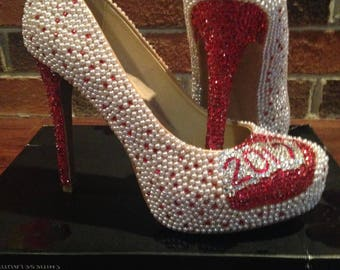 Hand Beaded Red and Pearl Encrusted Pumps