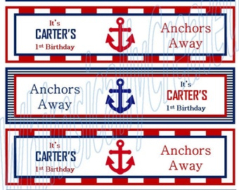 Anchor Water bottle Labels - Nautical Wtaer Bottle Labels - Nautical Party - Anchor Party