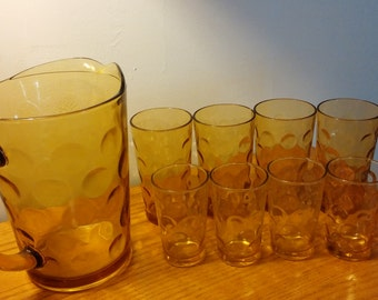 Vintage Amber Pitcher and Glasses