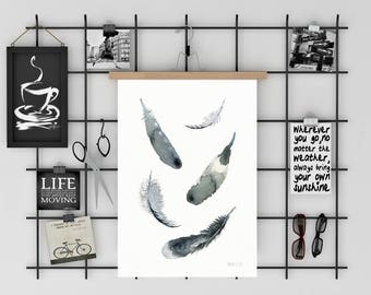 Feather art print. Black and white wall art. Modern feather poster. Watercolour art print. Feather watercolour painting. Coastal home decor.