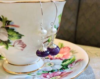 Amethyst Pearl Earrings