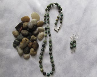 African Turquoise Necklace and Ear Rings