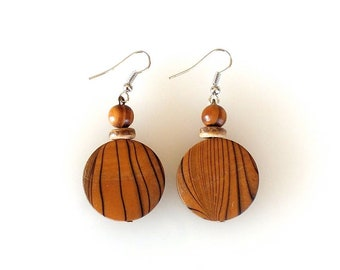 Wooden Disk Earrings