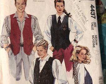 McCall's pattern 4437. misses', men's or teen boys' lined vest - Size is medium - uncut