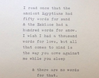 Love Quote Typed on Typewriter, Typewriter Quote