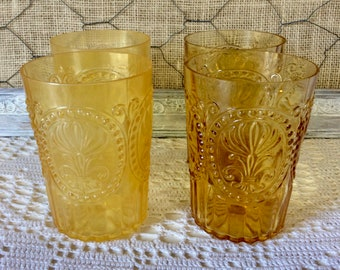 High Quality Vintage AMBER 12 Oz. Tumbler, Sandwich Glass, Retro Barware, Tumbler, Ice