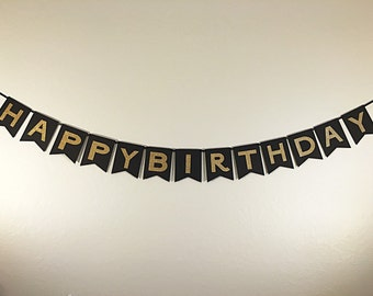 Happy Birthday Banner in Black and Gold. Birthday Party Banner. Black with Gold Letters.  Black and Gold Decoration. Black and Gold Party.