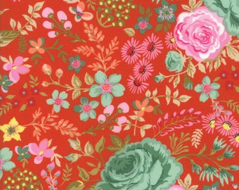 Meraki Grunge Rooi Floral designed by BasicGrey for Moda Fabrics, 100% Premium Cotton by the Yard