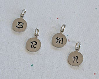Round Aluminum Personalized Charm, Hand Stamped Initial Letter, 13x10mm, 1 Charm