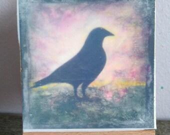 Holy Crow, Mini Print on Mini Easel
