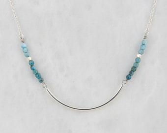 Apatite Necklace in Silver, Silver Bar Necklace, Apatite Bar Necklace, Apatite Jewellery, Gemstone Jewelry