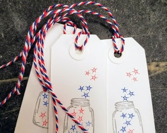 4th of July Hand Stamped Tags - set of 12, Independence Day, Patriotic, Red, White and Blue, Summer BBQ, Party Favors backyard, mason jar