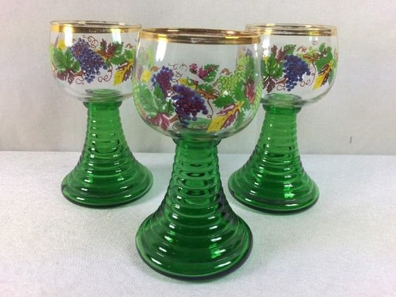 Roemer Wine Glasses 3 Hand Painted
