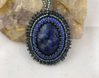 Sodalite Cabochon Pendant / Glass Seed Beads / Bead Embroidery / Suede / Handmade