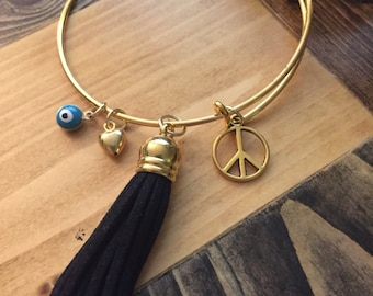 Adjustable Tassel Bracelet wirh Peace Sign Charm