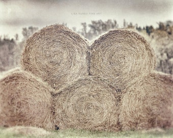 Farmhouse Decor, Rustic Country Decor, Country Decor, Hay Bales, Hay Rolls, Beige, Tan, Rustic Farm Print, Hay Picture or Canvas Art.