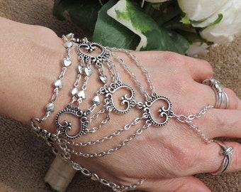 Silver Hand chain Wedding chain Slave Bracelet ring bracelet Hand jewelry Bracelet with thumb ring attached SILVER slave ring Bracelet