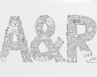 A4 couple doodle-please see description below for details to add to order
