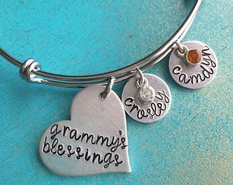 Personalized Grandma Bangle Bracelet, Gift For Grammy, Grandmother Bracelet, Grandmas Blessings, Mimi, Nana, Grandchildren Jewelry