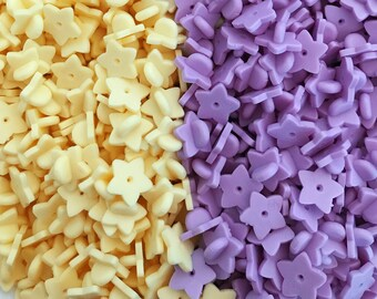 Rubber Star Pin Backs - Your Choice of Yellow or Purple - Packs of 5 or 10 - Mix n Match