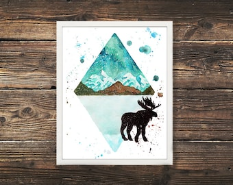 Mountain Moose Print, Watercolor Painting, Nature Painting, Watercolor print, Mountain painting, Landscape Art, Landscape, Canada, Canadian