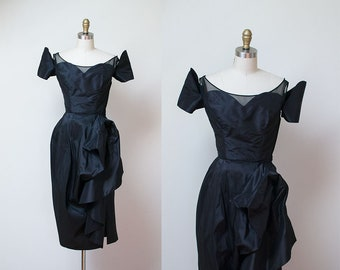 1950s Ceil Chapman Dress / 50s Draped Silk Cocktail Dress