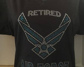 RETIRED Air Force Bling Rhinestone Black T-Shirt