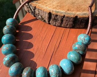 Blue Turquoise Howlite Necklace with Copper Tubes