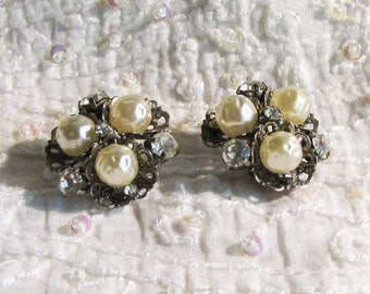 Vintage Ohrclips 1960er faux Perlen Glitzersteine 60th