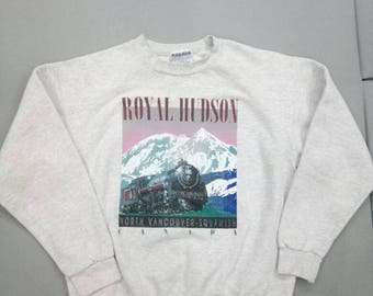 Vintage Gildan sweatshirt Royal Hudson train