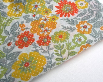 Yardage of vintage floral fabric. Juvenile fabric, cotton fabric, orange, yellow, chartreuse, gray, textured fabric, summer fabric,