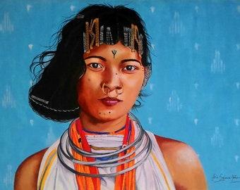 Acrylic portrait painting Realistic art Figurative painting