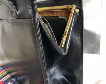 Vintage Kelly Handbag, a la Audrey Hepburn, 60s, black leather