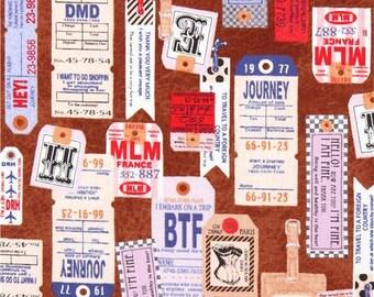214013 brown Canvas fabric colorful travel tag Kokka Japan