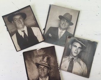 Vintage Collection of Men in Photobooth with Holiday Hat Festive Headress Set of Four Sepia Antique
