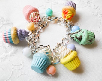 Cute Cupcake Bracelet, Cupcake Charm Bracelet, Charm Bracelet, Food Jewelry, Polymer Clay, Cute Bracelet, Kawaii, Sweet Lolita, Bracelet