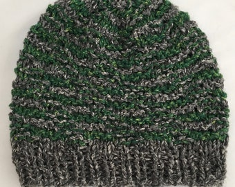Green Knit Hat, Textured Knit Hat, Striped Knit Hat, Green & Grey Stripes, Tweed Hat, Tweed Beanie, Knit Beanie, Hand Knit Hat Free Shipping