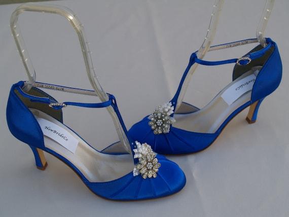 Royal blue wedding shoes vintage style brides something blue junglespirit Choice Image