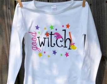 Personalized Halloween Good Witch Applique Shirt or Bodysuit for Boy or Girl