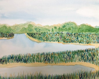 Colorful Marsh: Instant Download of original watercolor painting. Original fine art painting.