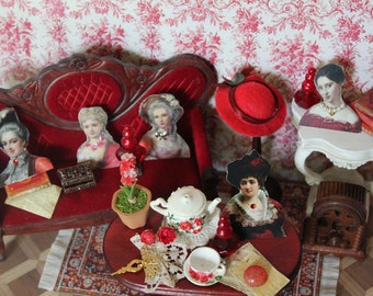 Dollhouse miniature vintage female red figures with little accessorizes